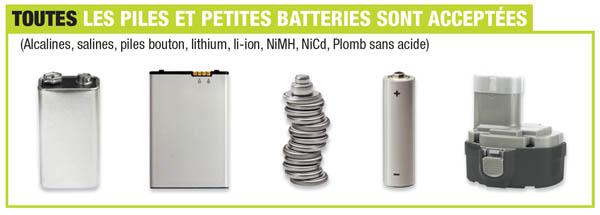 Piles et batteries acceptées